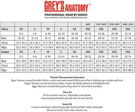 Greys anatomy scrub pants size chart